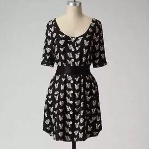 Anthropologie 100% Silk Maeve Dog Print Dress